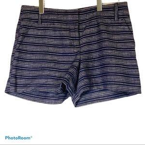 LOFT 00 XS striped Marisa 100% linen shorts